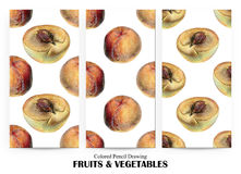 Set of seamless patterns with orange peaches drawn by hand with colored pencil Royalty Free Stock Image