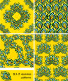 Set of Seamless patterns - ornaments are made of peacock feather Royalty Free Stock Images