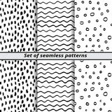 Set of seamless patterns painted hands Royalty Free Stock Images