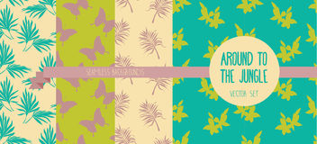 Set of seamless patterns with palm leaves, butterflies and flowers Stock Image