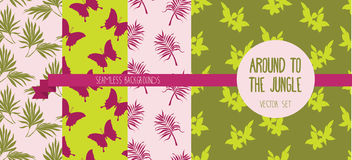 Set of seamless patterns with palm leaves, butterflies and flowers Royalty Free Stock Photos