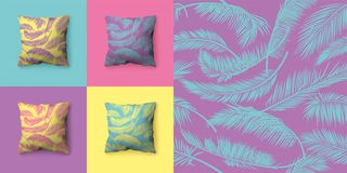 Set of seamless patterns with palm leaves in pastel colors. Vector patterns for wallpaper, wrapping paper, textiles, fabrics, back royalty free stock images