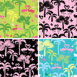 Set of seamless patterns with palm trees Stock Image