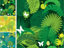 Set of seamless patterns with palm vector illustration