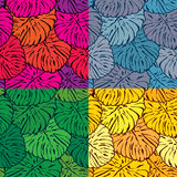 Set of seamless patterns with palm trees leaves Stock Photo