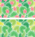 Set of seamless patterns with palm trees leaves Stock Photography