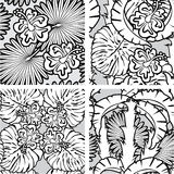 Set of seamless patterns with palm trees leaves Royalty Free Stock Images