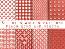 Set of seamless patterns. Peach echo and fiesta color. Color trend in 2016. Geometric seamless pattern. Vector illustration royalty free illustration