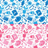 Set of seamless patterns in pink and blue colors  Royalty Free Stock Photography