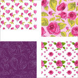 Set of seamless patterns with pink roses. And leafs Royalty Free Stock Photography