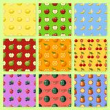 Set of seamless patterns with pixel fruits and berries. Background with apple, banana, watermelon, cherry and other. Old fashion 8 bit style stock illustration