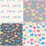 Set of seamless patterns with pixel hearts. For textiles, interior design, for book design, website background Royalty Free Stock Photos