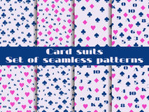 Set of seamless patterns with playing cards suits. Numerals card Stock Photography