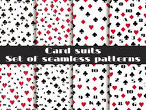 Set of seamless patterns with playing cards suits. Numerals card Royalty Free Stock Images