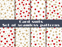 Set of seamless patterns with playing cards suits. Numerals cards. Royalty Free Stock Photo