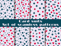 Set of seamless patterns with playing cards suits. Numerals cards. Stock Photos