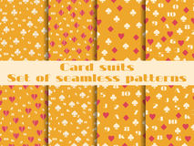 Set of seamless patterns with playing cards suits. Stock Photography