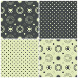 Seamless patterns with polka dots and circles, vector illustration Stock Images
