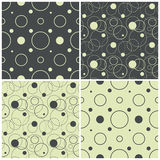 Seamless patterns with polka dots and circles, vector illustration. Set of seamless patterns with polka dots and circles, vector illustration Royalty Free Illustration