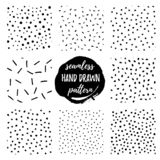 Set of seamless patterns with polka dots hand draw royalty free illustration