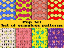 Set of seamless patterns in a pop art style. Seamless pattern with stars and circles. Vector Royalty Free Stock Photography