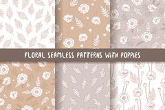 Set of seamless patterns with poppies, bohemian style. Stock Images