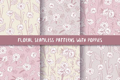 Set of seamless patterns with poppies, bohemian style. Royalty Free Stock Image