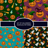 Set of seamless patterns with pumpkin halloween Royalty Free Stock Images