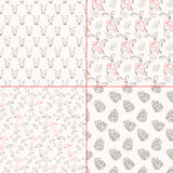 Set of seamless patterns with rabbit, cones, mushroom and berries. Stock Photos