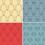 Set of seamless patterns with rabbit, French bulldog, sheep and skull. Royalty Free Stock Photography