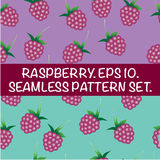 Set of seamless patterns with raspberries. Delicious red berries. Royalty Free Stock Image