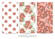Set of seamless patterns with red roses drawn by hand with crayons. Painted by hand with colored pencils illustration with spring flowers isolated on white vector illustration