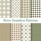 Set 8 seamless patterns retro. Brown and green background Royalty Free Stock Image
