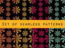Set seamless patterns. Retro colors. The pattern for wallpaper, bed linen, tiles, fabrics, backgrounds. Stock Photo
