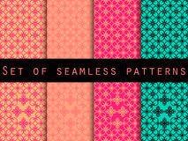 Set seamless patterns. Retro colors 80's. The pattern for wallpaper, bed linen, tiles, fabrics, backgrounds. Vector illustration Stock Photography