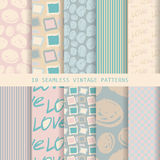 Set of seamless patterns in retro style. 10 eps stock illustration