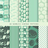 Set of seamless patterns in retro style Royalty Free Stock Photo