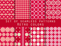Set of seamless patterns. Rhombus and squares. Retro colors. Stock Photo