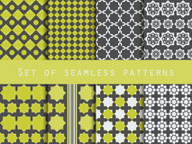 Set of seamless patterns. Rhombus and squares. Retro colors. Royalty Free Stock Photography