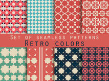 Set of seamless patterns. Rhombus and squares. Retro colors. Vector illustration Stock Photography