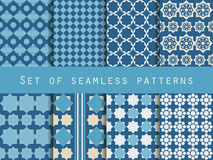Set of seamless patterns. Rhombus and squares. Retro colors. Stock Image