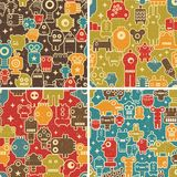 Set of seamless patterns with robots. Stock Photo