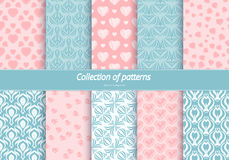 Set of seamless patterns. Romantic background with pastel colors. royalty free illustration