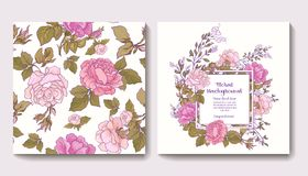 Set of seamless patterns with rose flowers and greeting birthday Royalty Free Stock Images