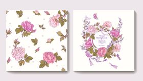 Set of seamless patterns with rose flowers and greeting birthday Stock Images