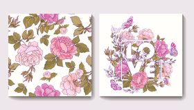 Set of seamless patterns with rose flowers and greeting birthday Stock Photo