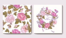 Set of seamless patterns with rose flowers and greeting birthday Royalty Free Stock Image