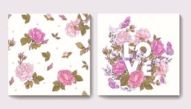 Set of seamless patterns with rose flowers and greeting birthday Royalty Free Stock Photo