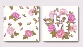 Set of seamless patterns with rose flowers and greeting birthday Stock Image