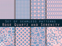 Set of seamless patterns. Rose quartz and serenity. Rose quartz and serenity violet colors. Set of vector patterns Royalty Free Stock Photos